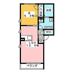 スクウェア橋良II[1階]の間取り