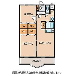 JR中央本線 下諏訪駅 徒歩8分の賃貸マンション 1階2LDKの間取り