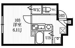 小田急小田原線 経堂駅 徒歩6分の賃貸マンション 1階1Kの間取り