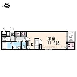カルムアビタシオン宇治伊勢田 3階1Kの間取り