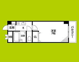 阪急京都本線 相川駅 徒歩10分の賃貸マンション 3階1Kの間取り