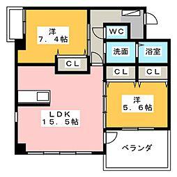 スエルテ鳥居松[1階]の間取り