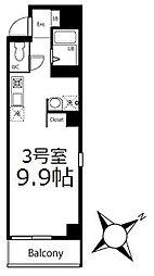 ブリティッシュクラブ鶴見 5階ワンルームの間取り