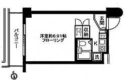 ステイタス武蔵野 7階ワンルームの間取り