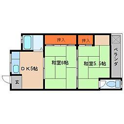 奈良県桜井市河西の賃貸マンションの間取り