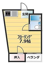 シャ・トリコロール井高野 2階ワンルームの間取り