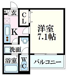 JR山陽本線 広島駅 徒歩18分の賃貸アパート 2階1Kの間取り