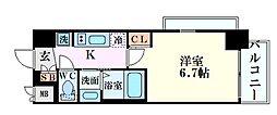 エステムコート新大阪XIVアイシー 3階1Kの間取り