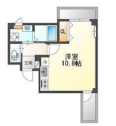 堺市堺区中三国ヶ丘町賃貸マンション新築 3階ワンルームの間取り