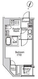 都営大江戸線 赤羽橋駅 徒歩6分の賃貸マンション 2階1Kの間取り