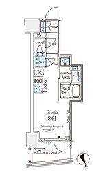 パークナードフィット南青山Vista 13階1Kの間取り