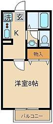 埼玉県富士見市鶴馬の賃貸アパートの間取り