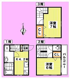 [テラスハウス] 東京都杉並区松ノ木3丁目 の賃貸【東京都 / 杉並区】の間取り