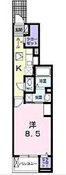ヴェルテス五番館 1階1Kの間取り