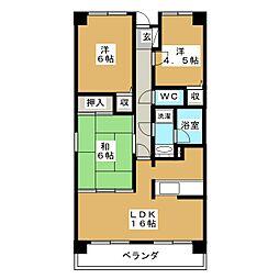 コンバウス西中田[6階]の間取り