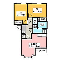 岐阜県美濃加茂市蜂屋町伊瀬の賃貸アパートの間取り