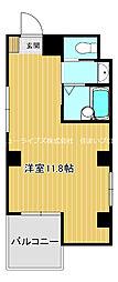 京阪本線 古川橋駅 徒歩23分の賃貸マンション 4階ワンルームの間取り