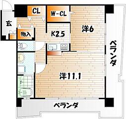 サンシャインプリンセス 北九州[10階]の間取り