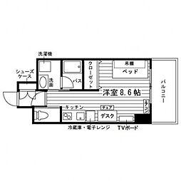 学生会館 エル・セレーノ札幌北12条[食事付き](仮称Uni 2階ワンルームの間取り