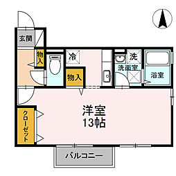 メゾンクレールB棟[B102号室]の間取り