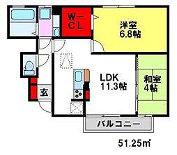 ドエル古賀弐番館[1階]の間取り