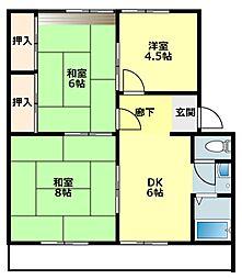 愛知県岡崎市上地3丁目の賃貸マンションの間取り