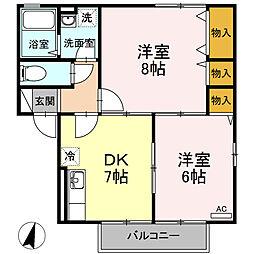 mano castello A棟[2階]の間取り
