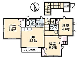 広島県広島市安芸区瀬野西1丁目の賃貸アパートの間取り