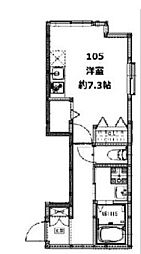 京急本線 雑色駅 徒歩8分の賃貸アパート 1階1Kの間取り