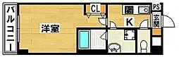 アシンメトリー三田 3階1Kの間取り