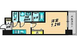 ファステート都島ベルズ 8階1Kの間取り