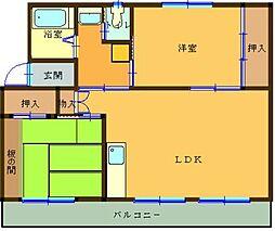 ヴィラナリー中間II[4階]の間取り