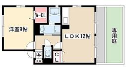 愛知県名古屋市名東区八前2の賃貸アパートの間取り