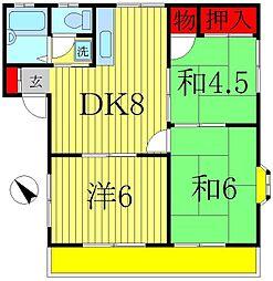 コーポアキ[2階]の間取り