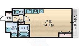 京阪本線 御殿山駅 徒歩9分の賃貸マンション 2階ワンルームの間取り