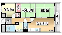 兵庫県神戸市灘区岩屋北町3丁目の賃貸マンションの間取り
