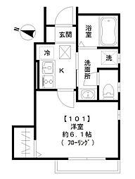 東急池上線 旗の台駅 徒歩3分の賃貸アパート 1階1Kの間取り