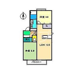 ラ・ベルターナII B棟[1階]の間取り