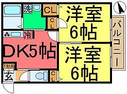 松江サンエムコーポ[203号室]の間取り