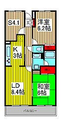 埼玉県さいたま市浦和区大東1丁目の賃貸マンションの間取り