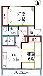 東京都国立市北2丁目の賃貸マンションの間取り