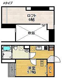 大阪府大阪市住吉区万代4丁目の賃貸アパートの間取り