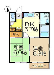 コート・ドゥ・ベール壱番館[2階]の間取り
