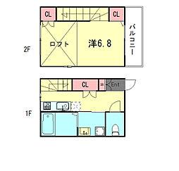 HCフラッツ須磨浦 1階1Kの間取り