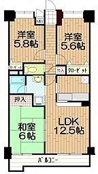 埼玉県朝霞市岡3丁目の賃貸マンションの間取り