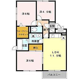 セジュールMEタケイシA[2階]の間取り