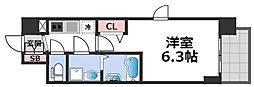 エスリード大阪CENTRAL AVENUE 9階1Kの間取り