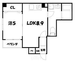 More五条II 4階1LDKの間取り