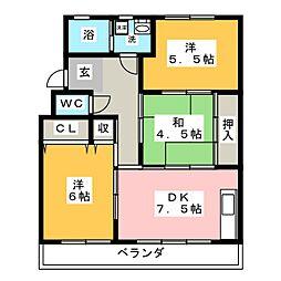 柏原農住団地B棟[3階]の間取り