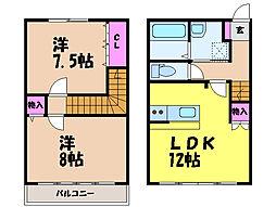 愛媛県松山市朝生田町3丁目の賃貸アパートの間取り